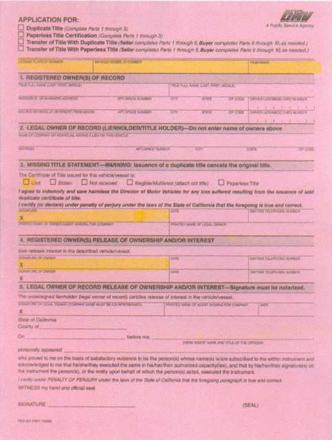 Application For Lost Car Title In Texas