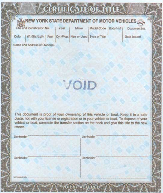 Title Information For Vehicle Donation In New York