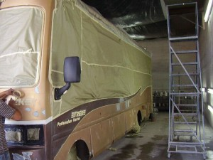 Painting a donated RV